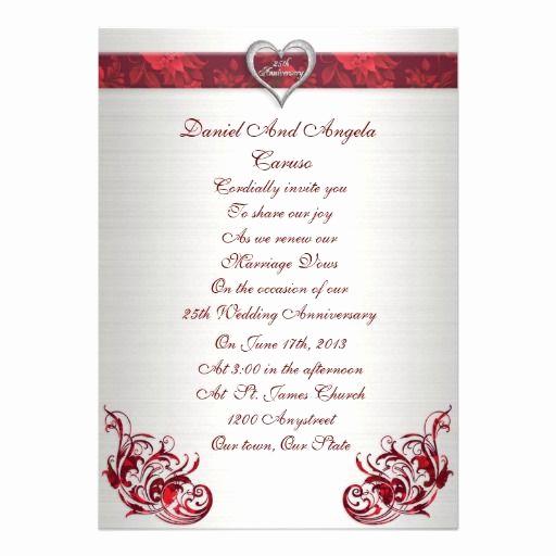Renew Vows Invitation Wording Beautiful 25th Wedding Anniversary Vow Renewal Invitation