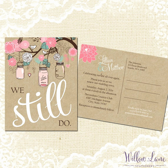 Renew Vows Invitation Wording Beautiful Vow Renewal Postcard We Still Do Pink Blue Mason Jar Vow