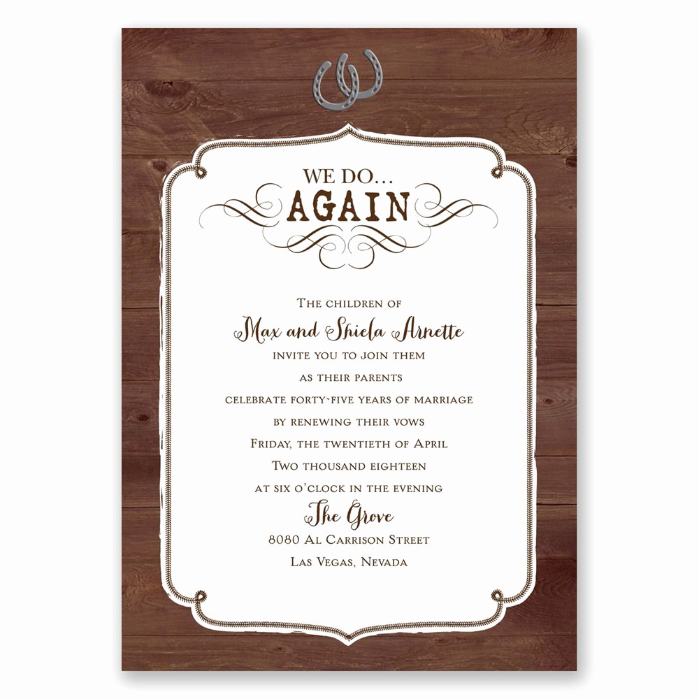 Renew Vows Invitation Wording Elegant Western Revival Vow Renewal Invitation