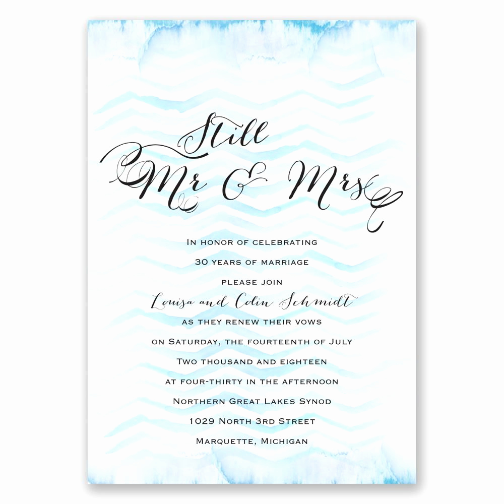 Renew Vows Invitation Wording Lovely Watercolor Chevron Vow Renewal Invitation