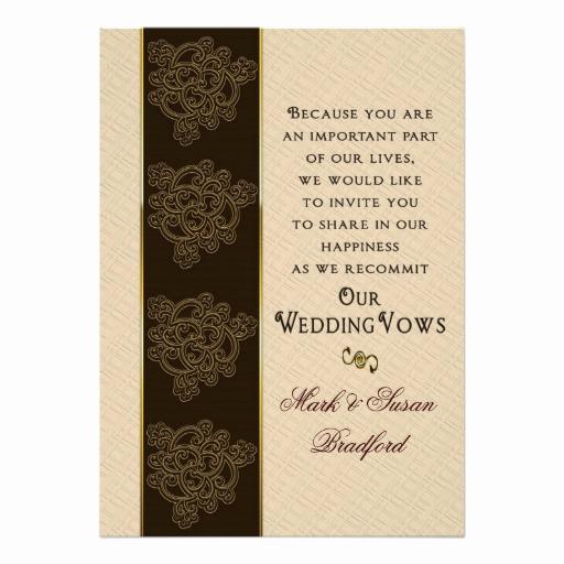 """Renew Vows Invitation Wording Unique Renewing Wedding Vows Invitation Brown Beige Gold 5"""" X 7"""