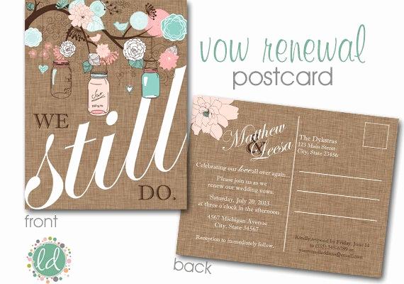 Renew Vows Invitation Wording Unique Vow Renewal Invitation Mason Jar Postcard Wedding Invitation