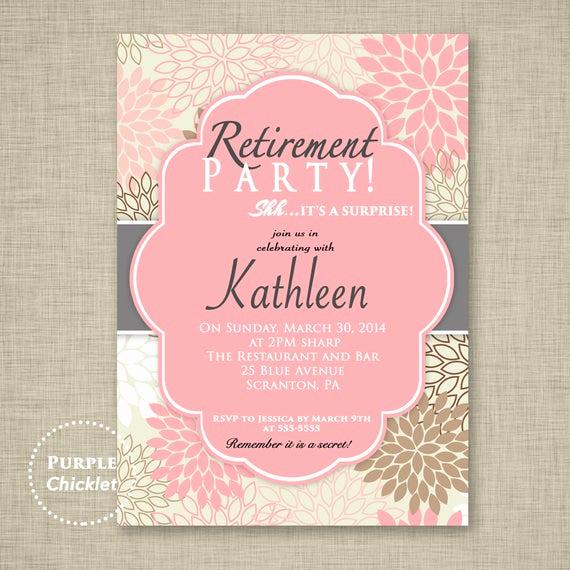 Retirement Invitation Template Free Inspirational Surprise Retirement Party Invitation Pink Adult Surprise Party