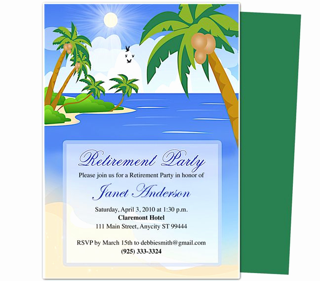 Retirement Invitation Template Free New Retirement Templates Paradise Retirement Party