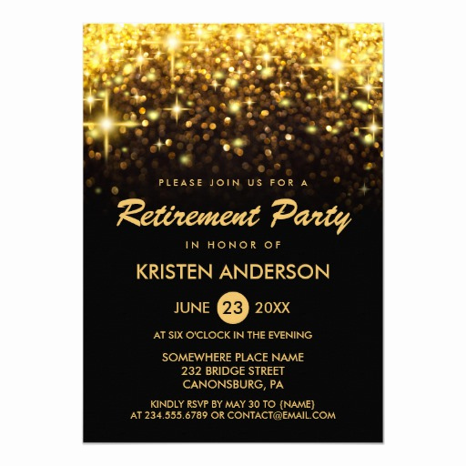 Retirement Party Invitation Card Best Of Retirement Party Gold Glitter Glamour Sparkles Card