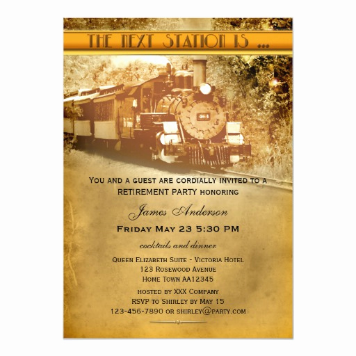 Retirement Party Invitation Card Best Of Vintage Train Retirement Party Invitation
