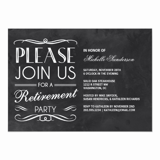 Retirement Party Invitation Card Elegant Vintage Chalkboard Retirement Party Card