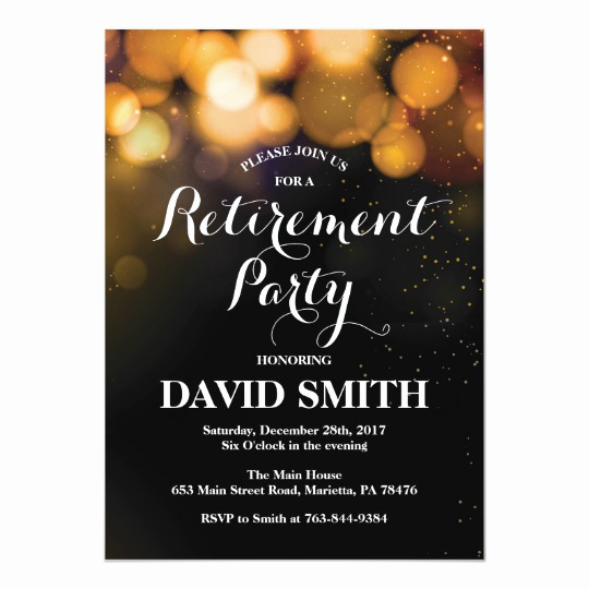 Retirement Party Invitation Card Fresh Retirement Party Invitation Card Gold Glitter