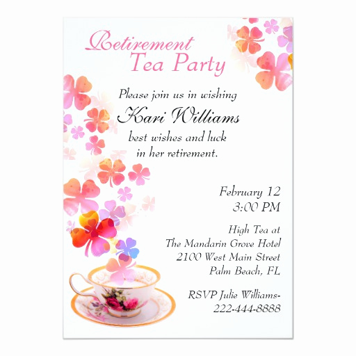 Retirement Party Invitation Card Lovely Stylish La S Retirement Tea Party Invitation
