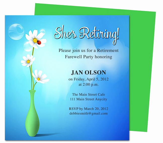 Retirement Party Invitation Card New Printable Diy Vase Retirement Party Invitations Templates