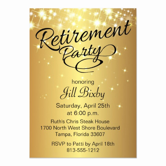 Retirement Party Invitation Card Unique Gold Sparkly Retirement Party Invitation