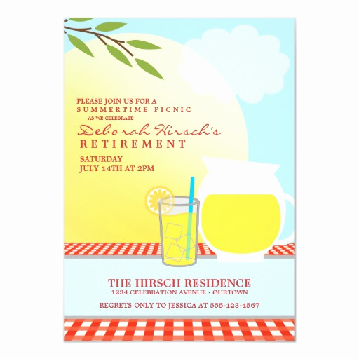 "Retirement Party Invitation Card Unique Retirement Picnic Party Invitations 5"" X 7"" Invitation"