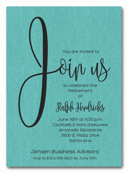 Retirement Party Invitation Ideas Best Of Shimmery Turquoise Join Us Retirement Party Invitations