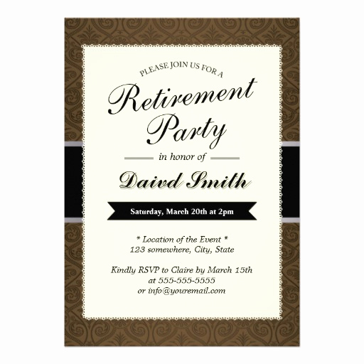 "Retirement Party Invitation Ideas Elegant Classy Brown Damask Retirement Party Invitations 5"" X 7"