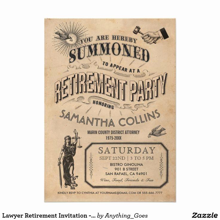 Retirement Party Invitation Ideas Fresh Lawyer Retirement Invitation Party Vintage Retro