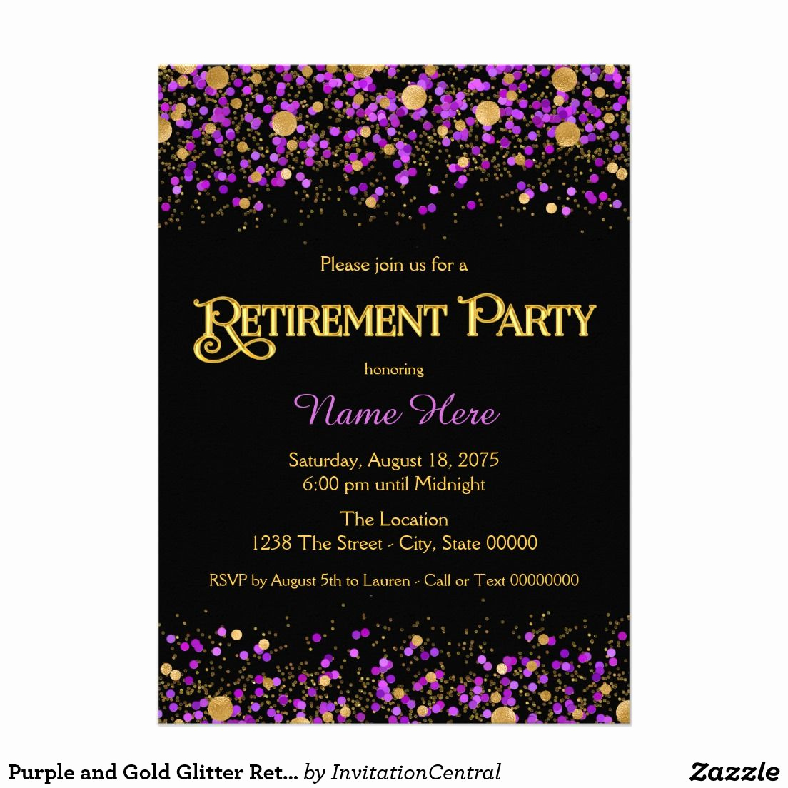Retirement Party Invitation Ideas New Purple and Gold Glitter Retirement Party Card