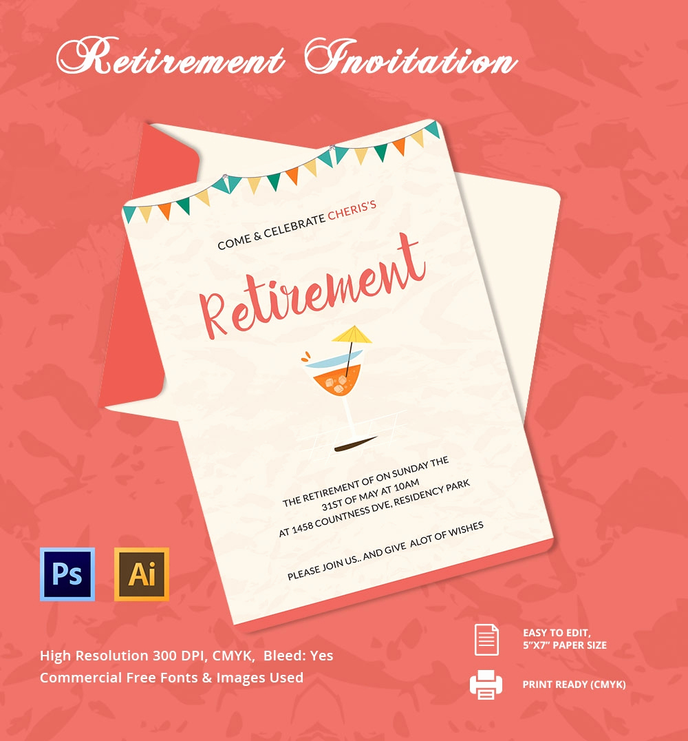 Retirement Party Invitation Template Beautiful 25 Retirement Invitation Templates Psd Vector Eps Ai