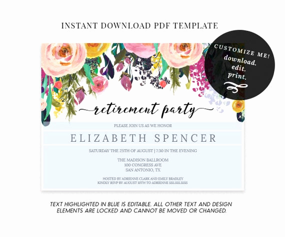 Retirement Party Invitation Template Elegant Editable Floral Retirement Party Invitation Template