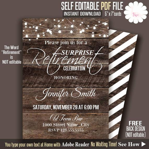 Retirement Party Invitation Template Free Best Of Retirement Invitation Rustic Retirement Invite Printable