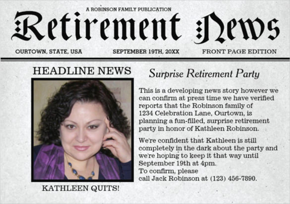 Retirement Party Invitation Template Free Lovely 12 Newspaper Front Page Templates – Free Sample Example