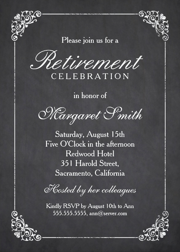 Retirement Party Invitation Template Unique Elegant Chalkboard Retirement Party Invitation Template