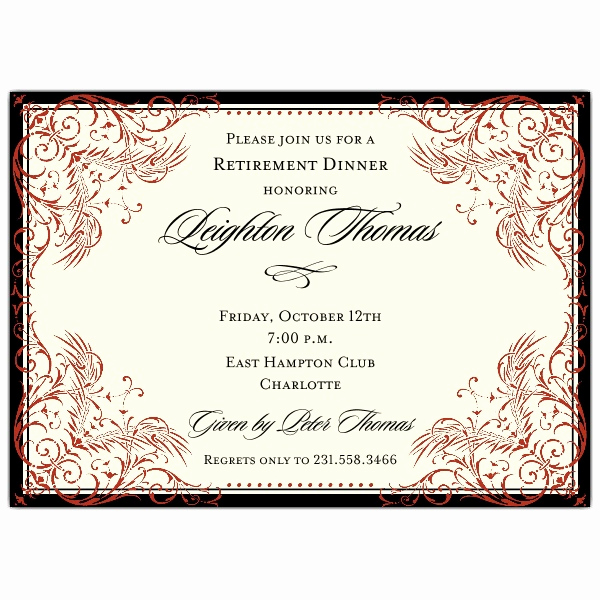 Retirement Party Invitation Templates Beautiful Black and Red Elegant Border Retirement Invitations