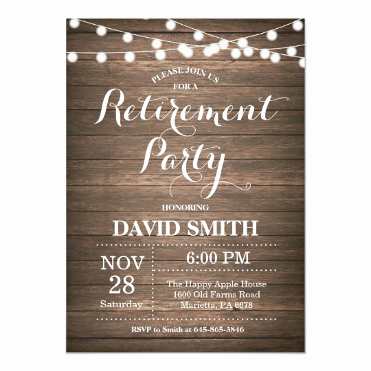 Retirement Party Invitation Templates Fresh Rustic Retirement Party Invitation Card
