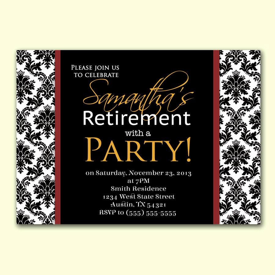Retirement Party Invitation Templates Inspirational Womans Retirement Party Invitation Damask formal by