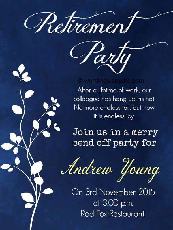 Retirement Party Invitation Templates Luxury Retirement Dinner Invitation Wording