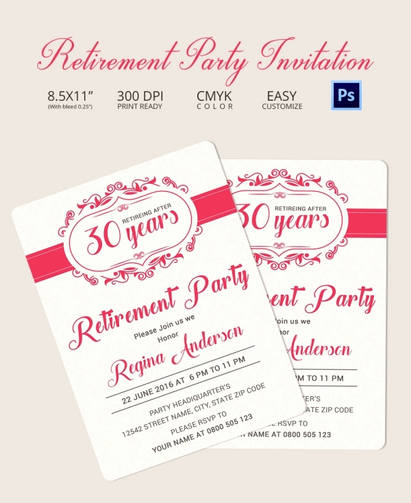 Retirement Party Invitation Templates Unique Retirement Party Invitation Template 36 Free Psd format