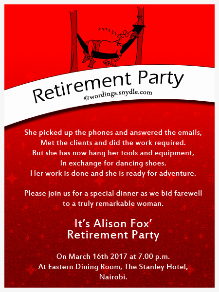 Retirement Party Invitation Wording Funny Elegant Retirement Party Invitation Wording Ideas and Samples