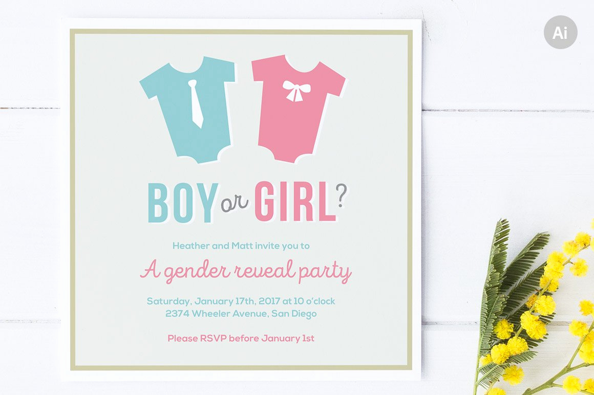 Reveal Party Invitation Ideas Awesome Gender Reveal Party Invite Invitation Templates