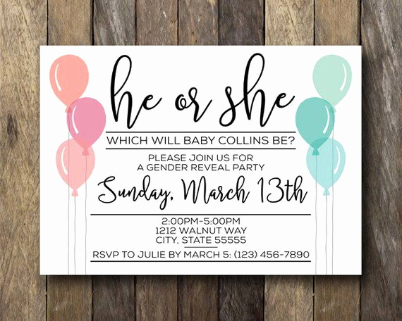 Reveal Party Invitation Ideas Beautiful Gender Reveal Invitation Printable Invite Gender