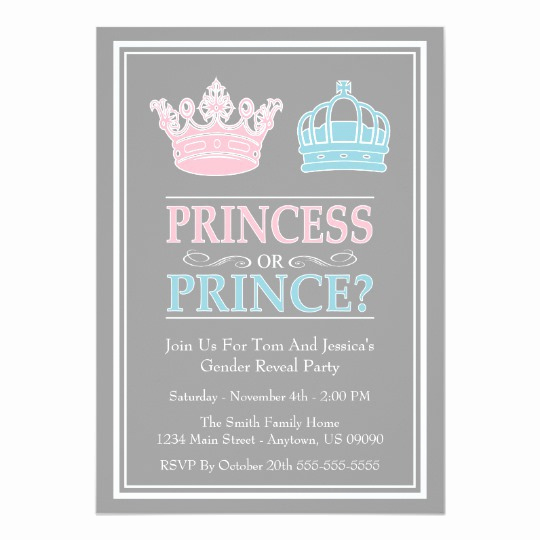 Reveal Party Invitation Ideas Elegant Princess Prince Gender Reveal Party Invitations