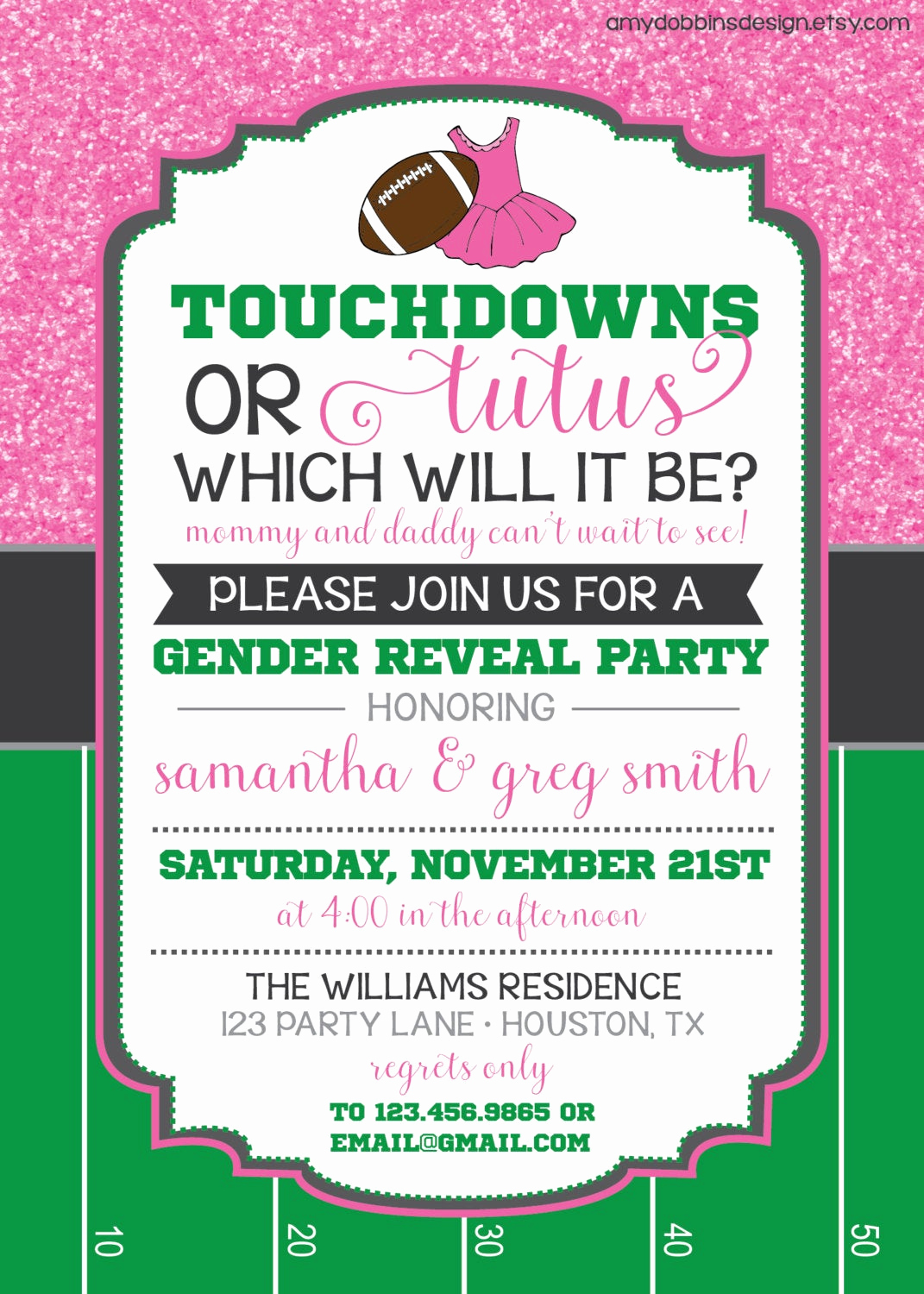 Reveal Party Invitation Ideas Fresh touchdowns or Tutus Gender Reveal Invitation Custom Colors