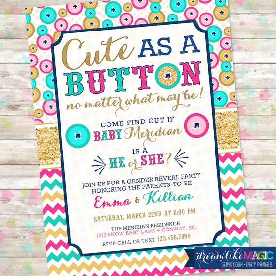 Reveal Party Invitation Ideas Inspirational Gender Reveal Party Cute as A button Gender Reveal Gender
