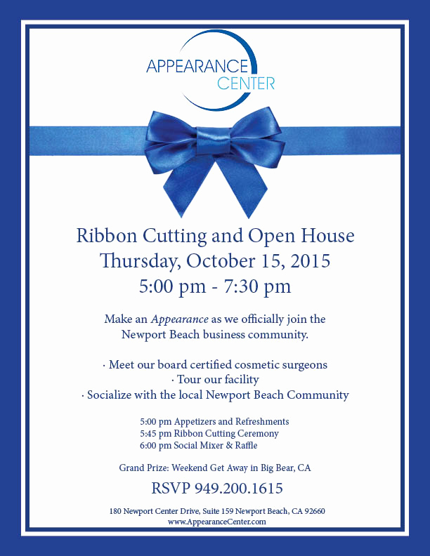 Ribbon Cutting Invitation Templates Best Of Appearance Center Ribbon Cutting Newport Beach Chamber