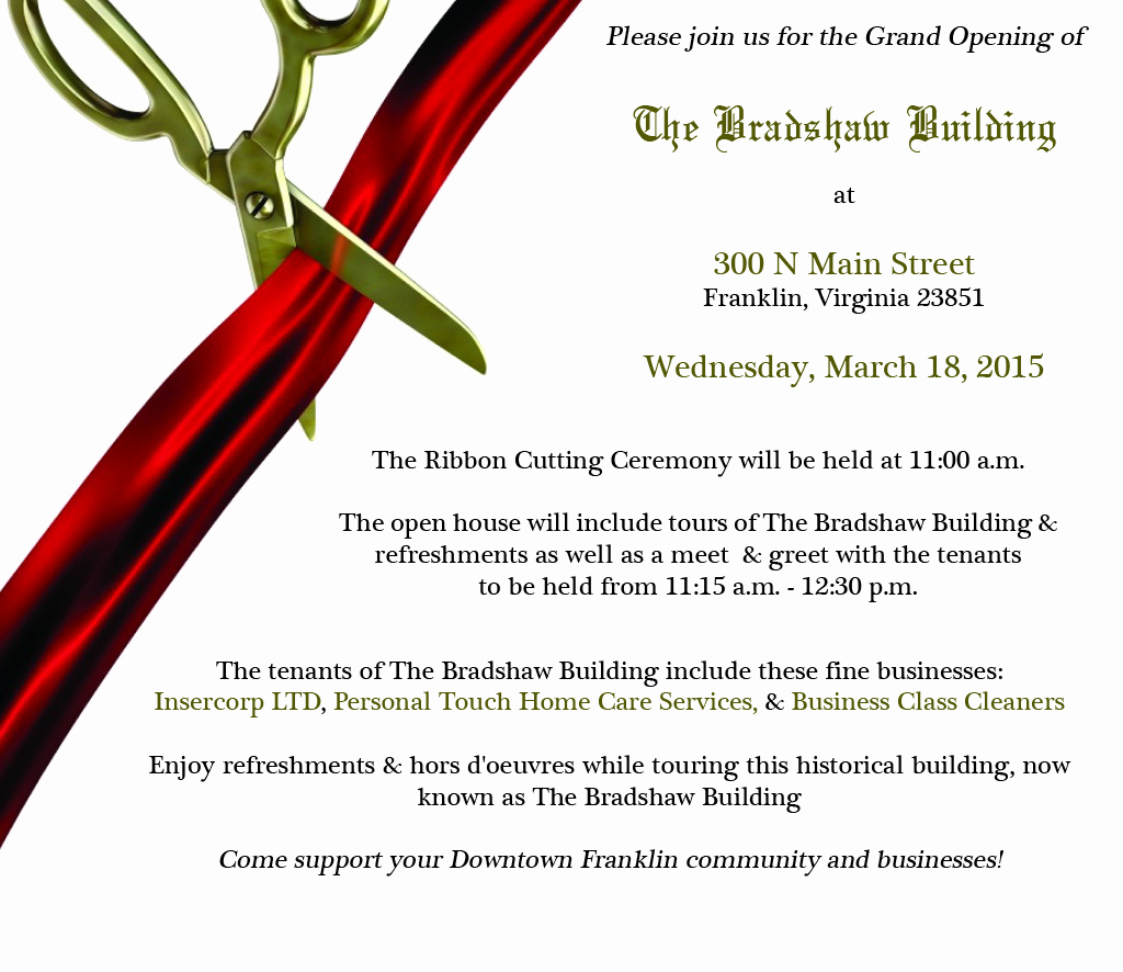Ribbon Cutting Invitation Templates Elegant the Grand Opening Of the Bradshaw Building