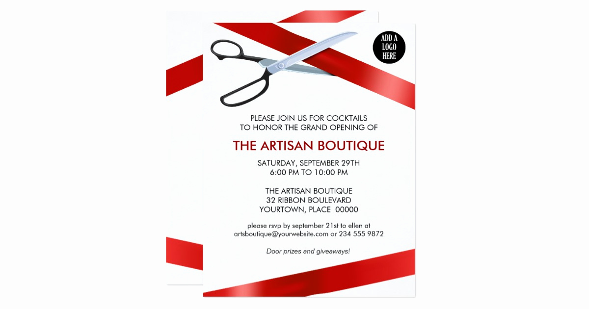 Ribbon Cutting Invitation Templates Fresh Red Ribbon Cutting Grand Opening Card
