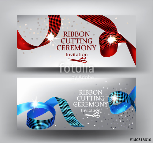"Ribbon Cutting Invitation Templates Lovely ""ribbon Cutting Ceremony Invitation Banners with Curly Red"