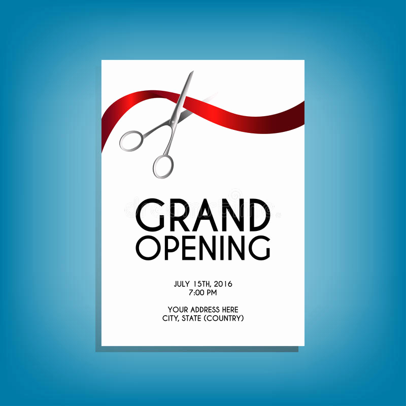 Ribbon Cutting Invitation Templates Luxury Grand Opening Flyer Mock Up with Silver Scissors Cutting