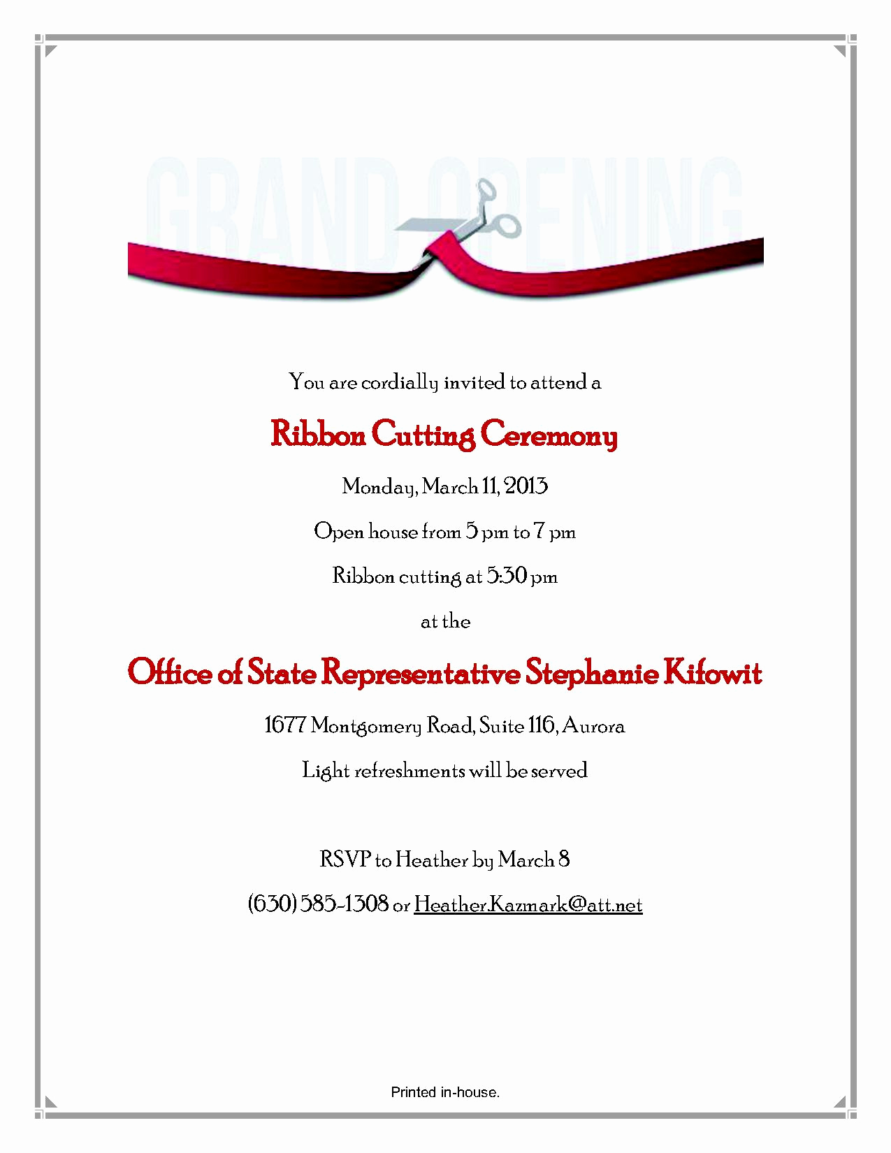 Ribbon Cutting Invitation Templates Luxury Swearing In Ceremony Invitation