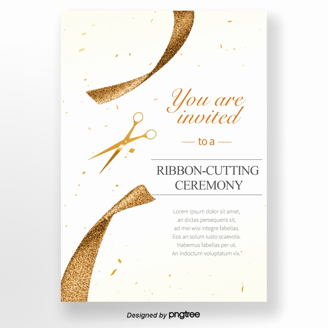 Ribbon Cutting Invitation Templates New Golden Concise Opening Ribbon Cutting Invitation Letter
