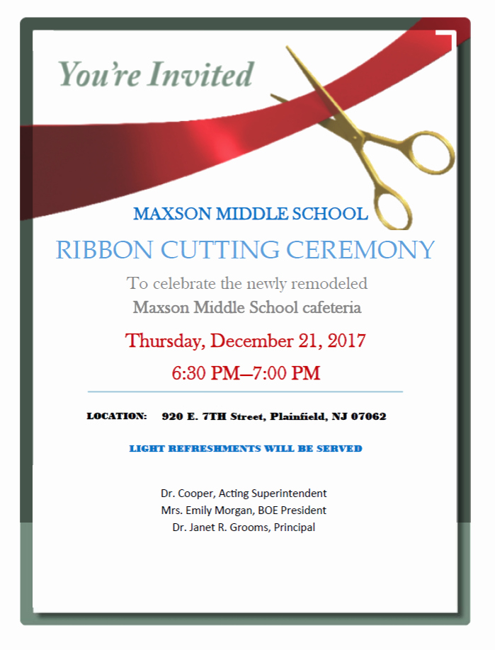 Ribbon Cutting Invitation Templates New Ribbon Cutting Ceremony at Plainfield S Maxson Middle