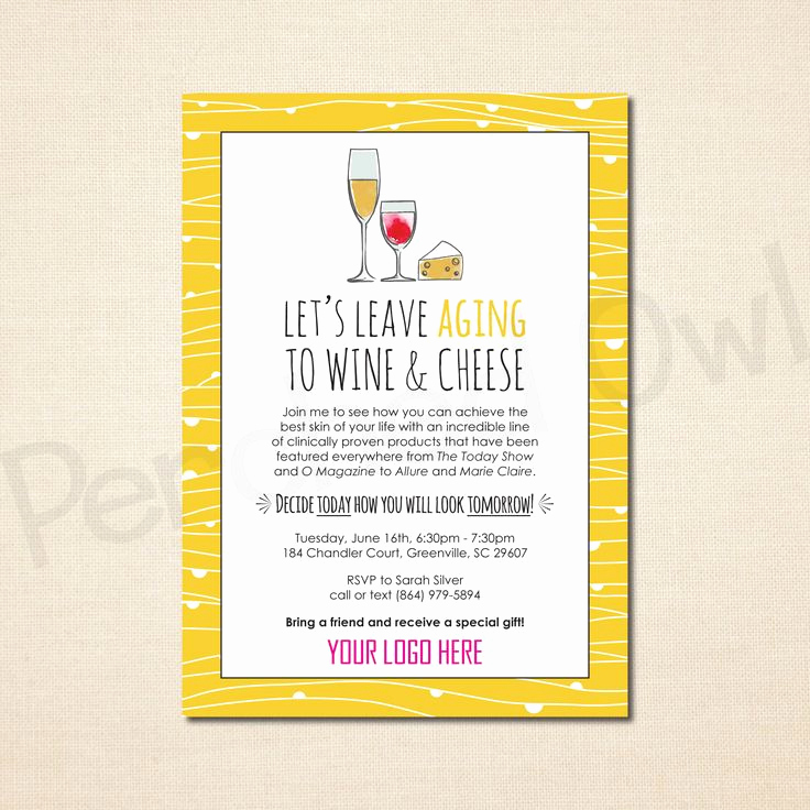 Rodan and Fields Bbl Invitation Elegant Leave Aging to Wine and Cheese Invitation Direct Selling