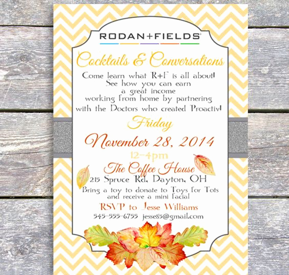 Rodan and Fields event Invitation Beautiful Rodan and Fields Party Autumn Invitation Diy by