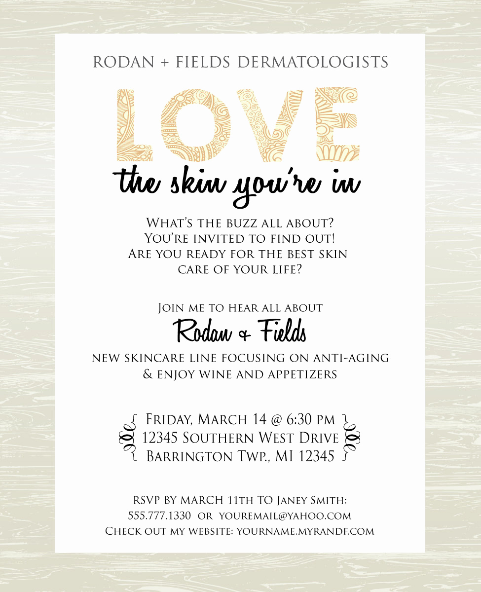 Rodan and Fields event Invitation Lovely Skin Care Party Invite Digital Jpg Only by Kateskanvas On Etsy