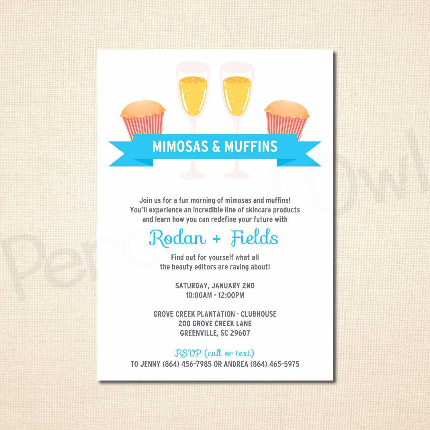Rodan and Fields Invitation Templates Lovely Mimosas & Muffins Invitation Direct Selling Business