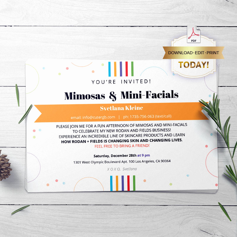 Rodan and Fields Invitation Templates Luxury Rodan and Fileds Invitaion Rf Launch Party Cutergb