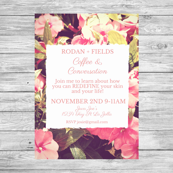 Rodan and Fields Invitation Templates Luxury Rodan Fields Invitation Coffee & Conversations Invite